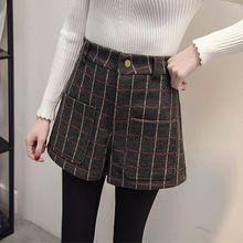 Pantalones cortos de talla grande 2017 de la vendimia de invierno barato de la alta cintura de la tela escocesa corta de lana grandes bolsillos casual shorts feminino mujer mujeres pantalones cortos(China (Mainland))