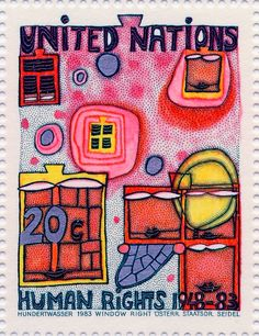Hundertwasser Stamp Resource: The Second Skin, The Right to Dream, Window Right, Treaty with Nature, Homo Humus Humanitas, and Right to Create