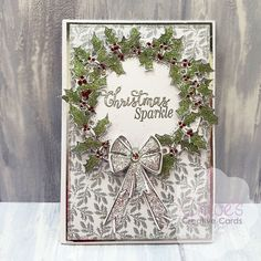 Simple yet elegant Christmas Wreath Handmade Card with large glitter bow (linked) from CHloes Creative Cards Chloes Creative Cards, Creative Christmas Cards, Xmas Cards, Christmas Bows, Elegant Christmas, Card Making Inspiration, Christmas Inspiration, Stamps By Chloe, Griffins