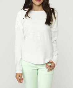 Take a look at this White Lace-Shoulder Swan Sweater by O'Neill on #zulily today!