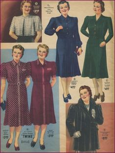 1940s Plus Size Fashion Advice. Dark colors minimize width better than light colors. Belts, if worn at all, should be matching and small.  #1940sfashion #plussize