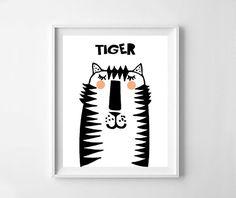 Tiger print, tiger  printable,  girl nursery, boy nursery, nursery art, tiger nursery, Scandinavian design