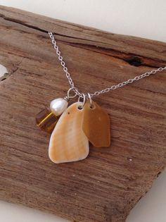 """Silberketten - 925 Silber Kette mit Seeglas """"Golden Shadow"""" - ein Designerstück von MeerSchmuck bei DaWanda"""