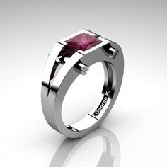 Modern 14K White Gold 1.25 Ct Princess Deep Red Ruby by artmasters