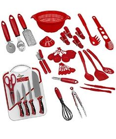 red kitchen utensils or red kitchen cutlery as red is a great color to bring our - Red Kitchen Accessories Ideas