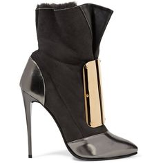 Giuseppe Zanotti - Embellished Leather And Suede Boots (32.545 RUB) ❤ liked on Polyvore featuring shoes, boots, charcoal, high heel shoes, pointed toe high heel boots, zip boots, pointy-toe boots and leather boots