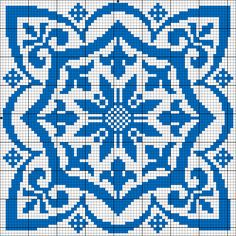 Square motif for cross stitch or filet crochet.