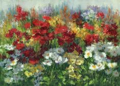 """Daily Paintworks - """"Colors in the Garden"""" by Linda Jacobus"""