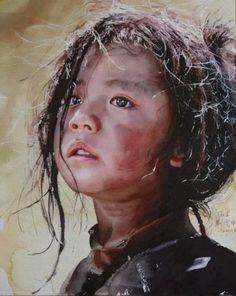 Liu Yun-sheng. (刘云生. Chinese, 1937~) 리우 윤솅, 중국 출신 수채화가. 그의 그림 속 소수민족 아이.