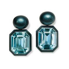 Aluminium and Aquamarine Earrings with Hemmerle