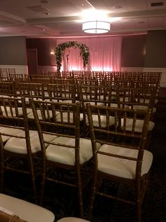 Ceremony at MCC #wedding #ceremony #manchestercountryclub #uplights #chivarichairs #gold #chuppah