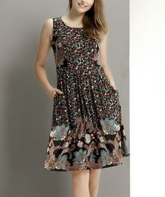Black Floral Fit & Flare Dress #zulily *Love it