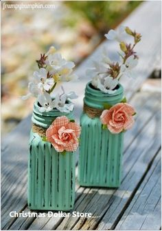 Dollar Store Crafts – Flower Vases of Salt and Pepper Shakers – Best Cheap DIY - Crafts for Kids Jar Crafts, Home Crafts, Diy And Crafts, Upcycled Crafts, Crafts Cheap, Adult Crafts, Crafts For Gifts, Decor Crafts, Crafts To Make And Sell Easy