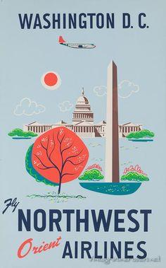 Washington D.C * Northwest Airlines #travel #poster (1960s)
