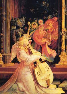 MATIAS GRÜNEWALD, Retablo de Isenheim, concierto de ángeles y Natividad (detalle), 1512-16, Unterlinden Museum at Colmar, Alsace, France