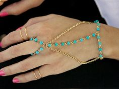 blue beads hand chain wrapped slave bracelet, girl's gold chain handpiece, party body piece slave chain