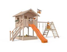 Baumhaus Fridolino – Join the world of pin Backyard Swing Sets, Backyard Swings, Backyard Playhouse, Backyard For Kids, Cubby Houses, Play Houses, Kids Outdoor Playground, House Deck, Kids House