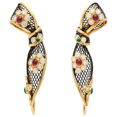 Piaget ruby emerald diamond gold Ear Clips | From a unique collection of vintage clip-on earrings at https://www.1stdibs.com/jewelry/earrings/clip-on-earrings/