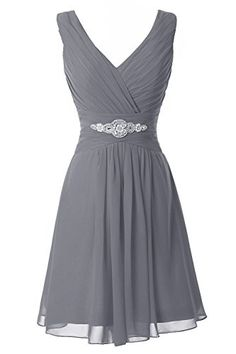 Manfei Women's V-Neck Chiffon Short Bridesmaid Dress Party Dress Gray Size 2