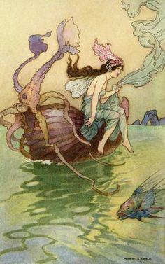 Cute mermaid with squid pal.