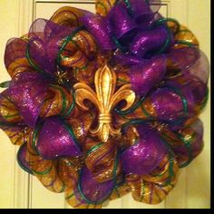 Mardi Gras is here!  Love my wreath!  All supplies and tutorials on mardigrasoutlet.com.