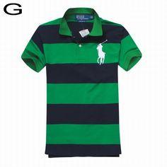 Polo Ralph Lauren Men Bold Striped Big Pony Polo Black Green