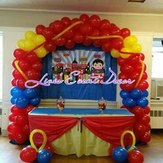 Red yellow and blue balloon arch