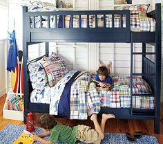 Bunk beds are great for siblings and sleepovers. Shop Pottery Barn Kids' bunk beds and loft beds for kids with functional and sturdy styles.