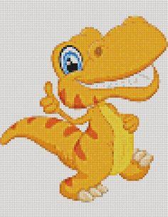 DINOSAUR Cross Stitch Pattern PDF Embroidery Cute Nursery Cross Stitch Alphabet, Cross Stitch Baby, Counted Cross Stitch Patterns, Cross Stitch Charts, Dinosaur Images, Dmc Floss, Beaded Animals, Plastic Canvas Patterns, Digital Pattern