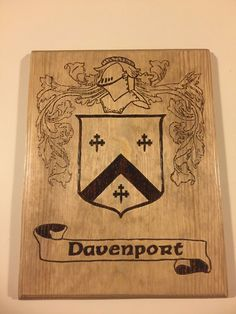 Coat of Arms Plaques wood burned, Coat of Arms, Family Crests, Family Crest Plaques Wood Burned