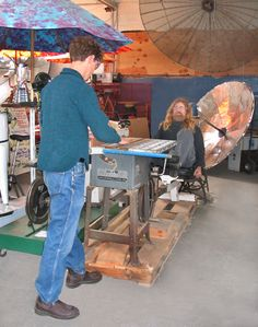 Pedal powered table saw  I would off set the bike power unit for safty