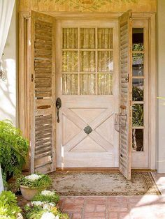This vintage-style take on a front door doesn't just add character, it functions as a screen door in hot, summer months! Check it out: http://www.bhg.com/home-improvement/door/exterior/exterior-door-ideas/?socsrc=bhgpin112014addvintageorvintagelikedetails&page=5