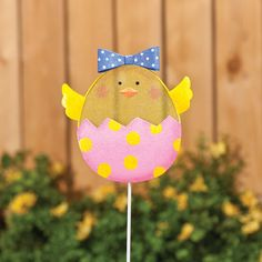 Glitter Chick Lawn Stake - Zoom - Zoom