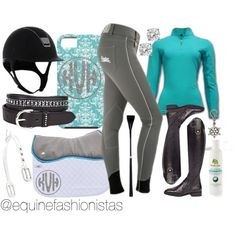 """Teal & Crystal"" by ashlyn-pease on Polyvore Check out @equinefashionistas on instagram to find out where you can get these products!"