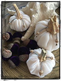 Handmade Velvet Pumpkins & Acorns Set of Three by SSDesign7