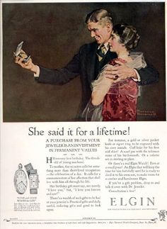 Ad for Elgin Watches with Illustration by Norman Rockwell
