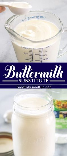 an easy tutorial for How to Make Buttermilk Substitute, and all you need are just 2 ingredients! This substitute for buttermilk is perfect for making tender, flavorful baked goods. Buttermilk Substitute, How To Make Buttermilk, Butter Substitute, Buttermilk Recipes, Homemade Buttermilk, Recipe Substitute, Snack Recipes, Dessert Recipes, Cooking Recipes
