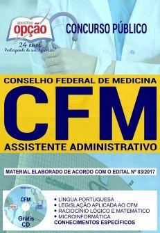 Promoção -  Apostila Concurso CFM 2018 - ASSISTENTE ADMINISTRATIVO  #concursos