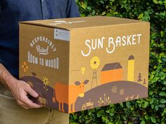 Sun Basket Packaging designed by Kyle Anthony Miller. Connect with them on Dribbble; the global community for designers and creative professionals. Label Design, Box Design, Branding Design, Package Design, Fruit Packaging, Brand Packaging, Design Packaging, Carton Design, Box Delivery