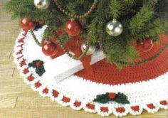 free crochet Holly Berry Tree Skirt Pattern