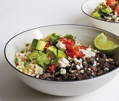 Brown Rice and Beans with Ginger Chile Salsa Recipe at Epicurious.com - It's not traditional, but we love the heat that fresh ginger adds to salsa.  Per serving: 360 calories, 16 g fat, 16 g fiber