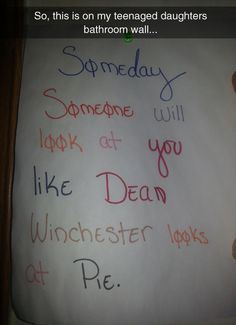 Dean + pie = forever, this is the best thing ever!