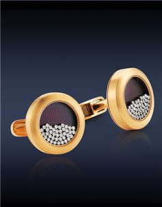 Floating Diamonds Cufflinks | Jacob & Company Floating Diamonds Cufflinks, Featuring: 0.72 Ct Round Brilliant Cut Diamonds (80 Stones) Floating on Top of a Cotes De Geneve Pattern Face, Crafted in 18K Rose Gold.