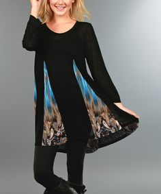Look what I found on #zulily! Black & Blue Peacock Contrast-Panel Tunic - Plus #zulilyfinds