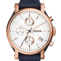 Making accessorizing with navy much easier. Original Boyfriend Chronograph Navy Leather Watch