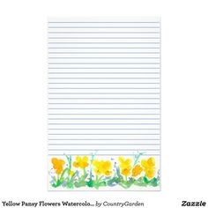 Yellow Pansy Flowers Watercolor Painting Lined Stationery