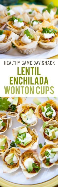 Healthy game day food? Yup! These vegetarian, baked, super healthy lentil enchilada wonton cups with help make your game day party healthy!