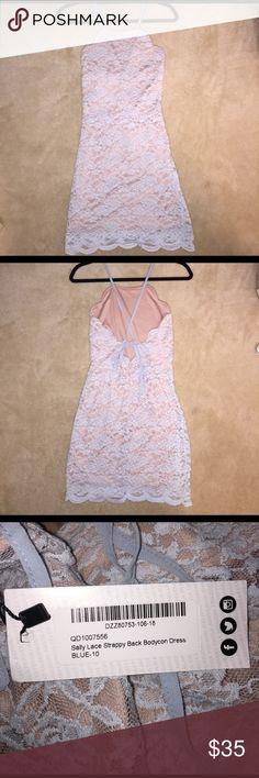 Bodycon dress Light blue, lace, tight, size 6, never worn Boohoo Dresses Mini