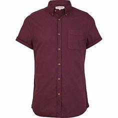 Purple short sleeve Oxford shirt $40.00