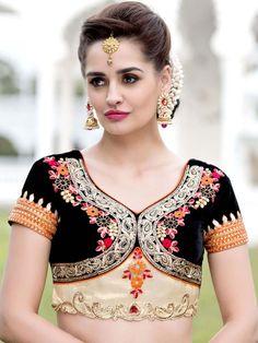 Party Wear Designer Blouse  with zari, resham, kundan work,.  Item Code: BHP143 http://www.bharatplaza.com/new-arrivals/accessories.html